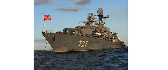 "Baltic Fleet's guard ship ""Yaroslav Mudry"" during military exercise"