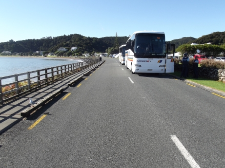 Empty road in front of te Tii Waitangi Marae